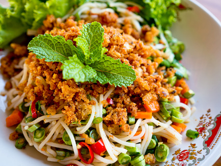 food ingredient: Thai spicy rice vermicelli salad Stock Photo