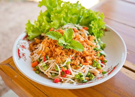 vermicelli: Thai spicy rice vermicelli salad Stock Photo