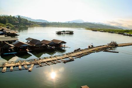 sangkhla buri: Wooden raft Sangkhla buri, Thailand. Stock Photo