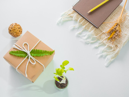 Brown gift box and note book on white background.