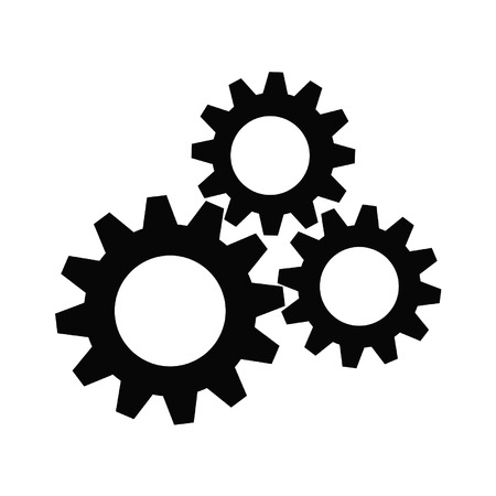 cooperate: Gear collection. Set of gear wheels. Black cogs on white background
