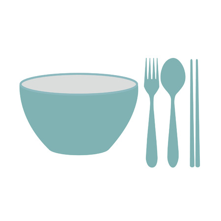 kom en vork en lepel en zwarte eetstokjes