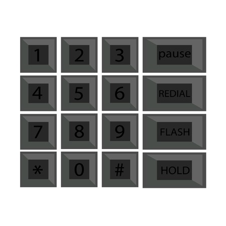 dialing pad: phone number with alphabet kayboard vector illustration