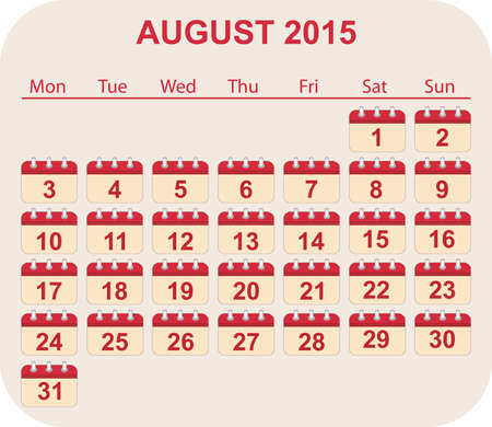 aug: calendar aug 2015 Illustration