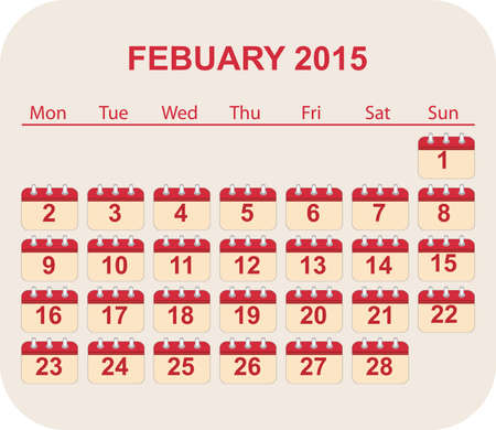 calendar feb 2015 Illustration
