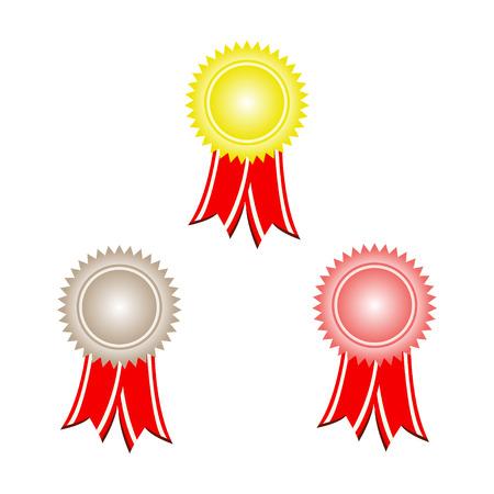 gold silver and bronze award ribbons Vector
