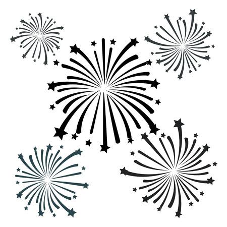 fireworks on white background: black firework vector