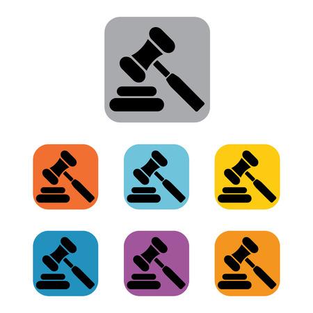 auction gavel: auction hammer icon law judge gavel set