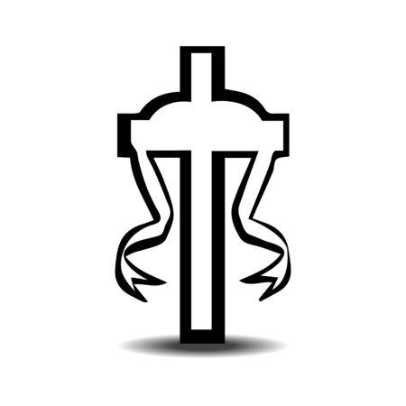 rose tattoo: ribbon cross