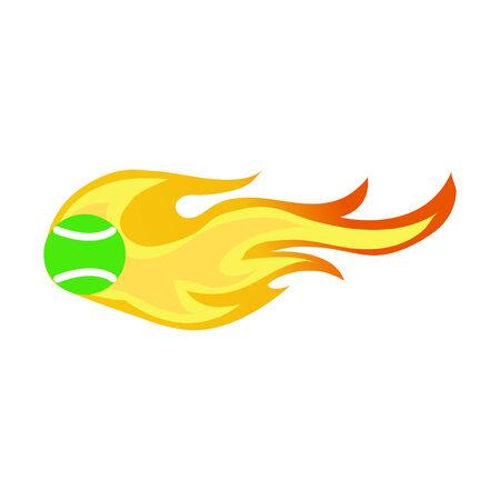 tennis ball on fire Ilustração
