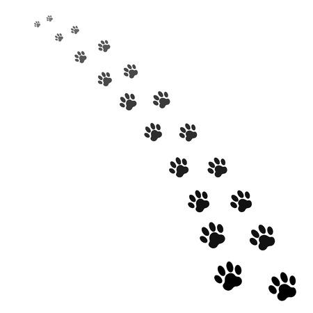 voetafdrukken van de hond Stock Illustratie