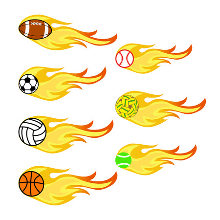 sports balls and fire Illustration