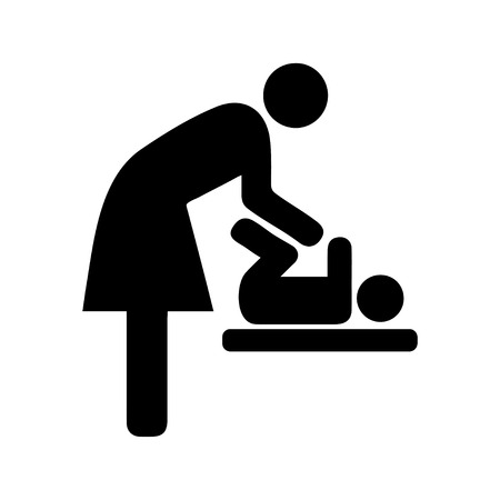 changing room: toilets icon icon, toilet, sign, man, baby, symbol, vector, room, female, bathroom, restroom, wc, male, handicap, changing, pictogram, universal, isolated, girl, woman, washroom, women, black, lady, illustration Illustration