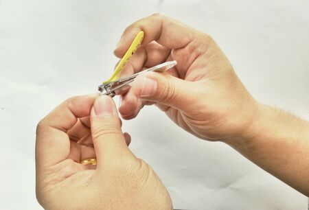 clipper: hand manicure with nail clipper