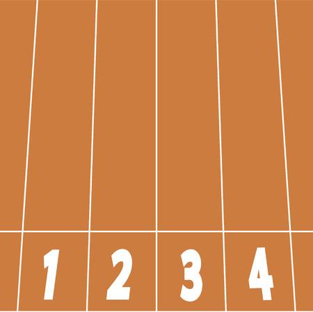 running track: start lijn op atletiekbaan