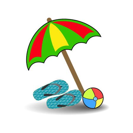 beach umbrella slippers ball Vector