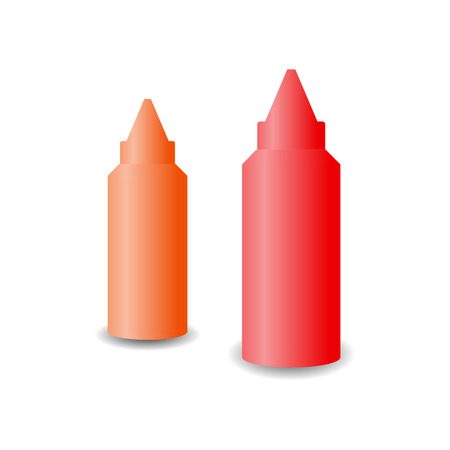 squirt: Bottles of ketchup and mustard Illustration