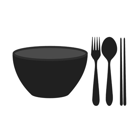 bowl, chopsticks, fork and spoon Illustration