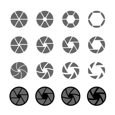abstract aperture: camera shutter icon set