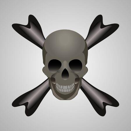 vector skull danger sign: Skull and crossbones