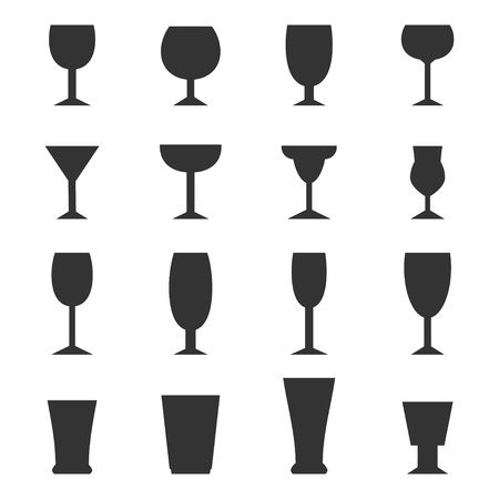 champagne cups: Drinking glass icons set