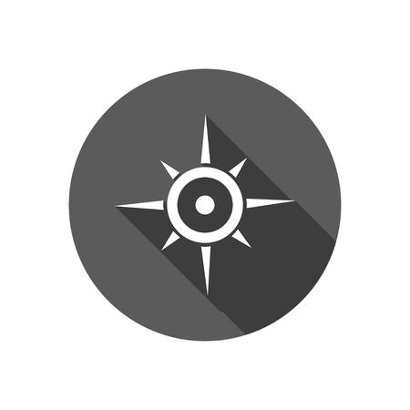 longitude: compass with long shadow Illustration