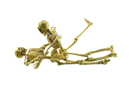 man and woman sex: human skeleton model lovers having sex on white background Stock Photo