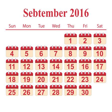 september: calendar 2016,September Illustration