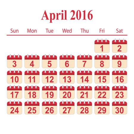 april: calendar 2016,April