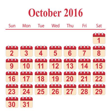 october: calendar 2016,October