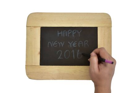 self exam: Hand writing in German Happy New Year 2016 on a blackboard,selective focus Stock Photo