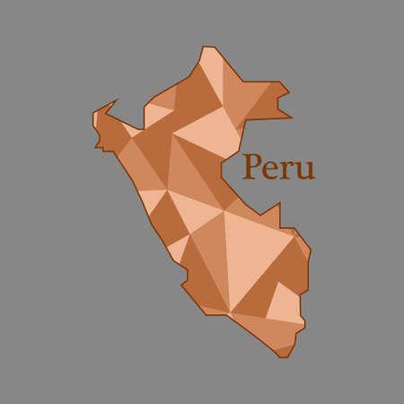 mapa del peru: mapa del Perú, bajo polígono Vectores