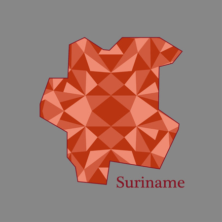 suriname: map of Suriname,low polygon