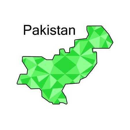 Pakistan: map of Pakistan,low polygon Illustration