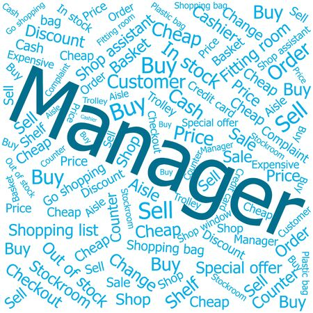 shop assistant: manager,Word cloud art background