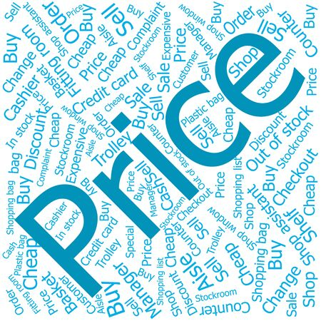 shop assistant: price,Word cloud art background Illustration