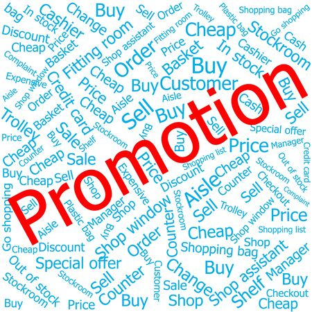 ledger: promotion,Word cloud art background Illustration