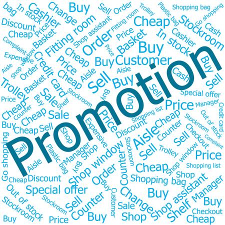 shop assistant: promotion,Word cloud art background Illustration