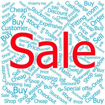 ledger: sale,Word cloud art background Illustration