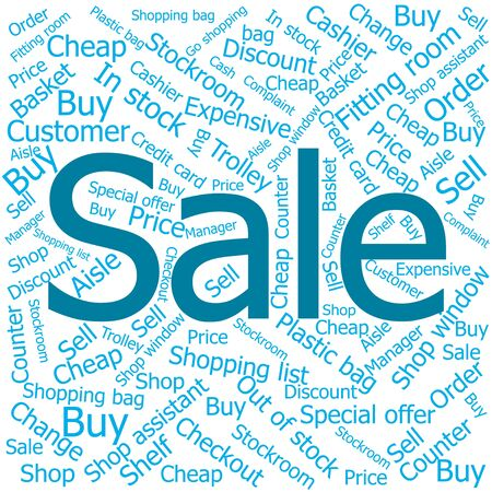 out of order: sale,Word cloud art background Illustration