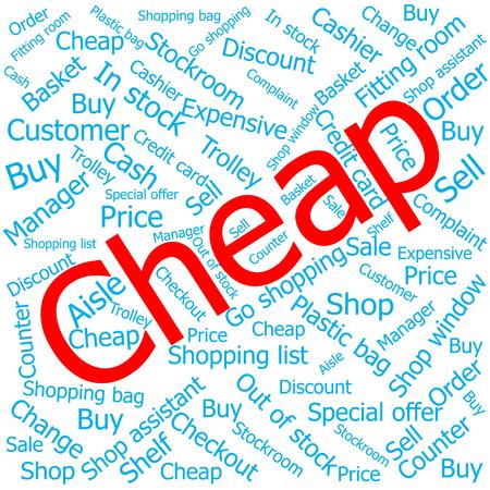 cheap: cheap,Word cloud art background Illustration