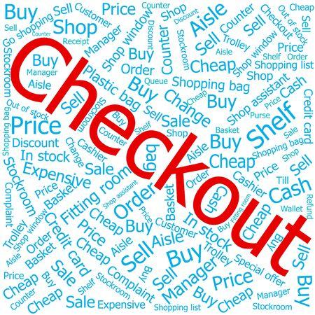 checkout: checkout,Word cloud art background Illustration