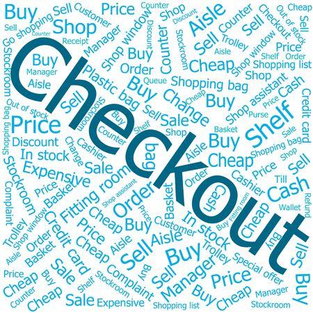ledger: checkout,Word cloud art background Illustration