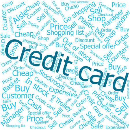shop assistant: credit card ,Word cloud art background