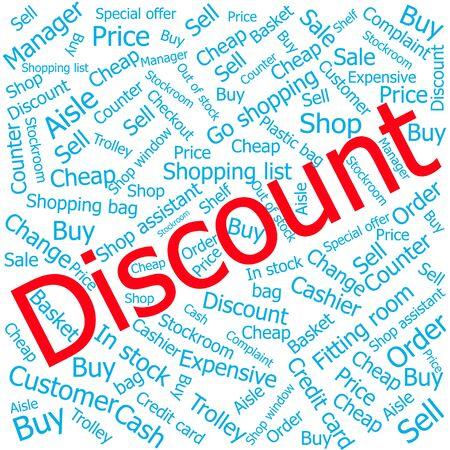 ledger: discount,Word cloud art background Illustration