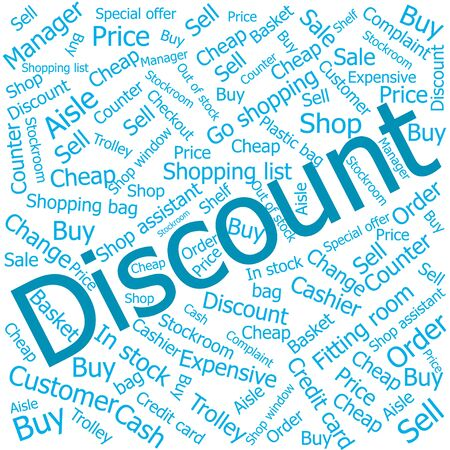 out of order: discount,Word cloud art background Illustration