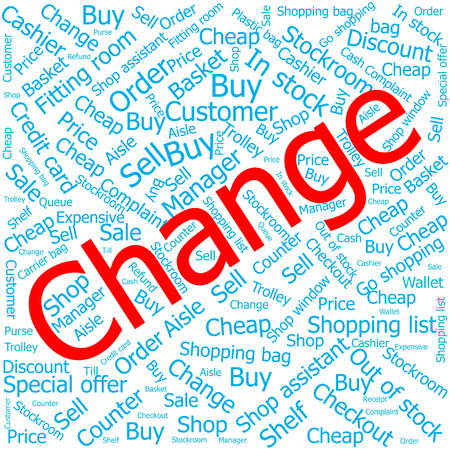 stockroom: change,Word cloud art background Illustration