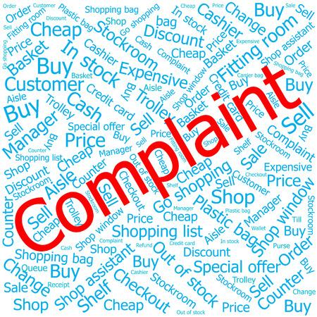 stockroom: omplaint,Word cloud art background Illustration