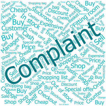 stockroom: complaint,Word cloud art background