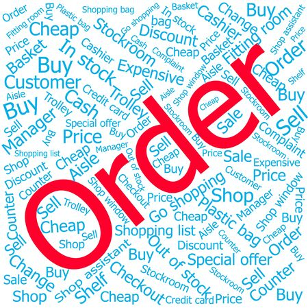 out of order: order,Word cloud art background Illustration